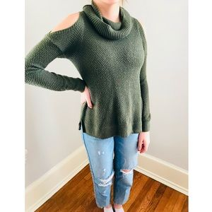 Green Sweater with Shoulder Cutouts